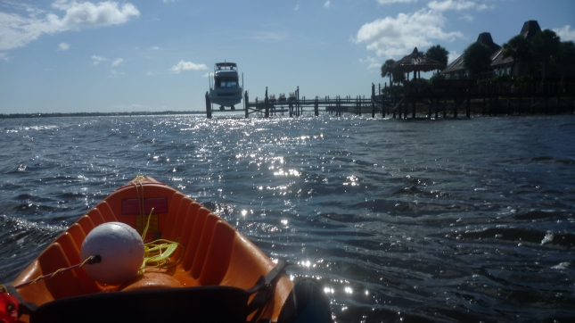 Paddling out the Saint Lucie Inlet with Jupiter Island to the right