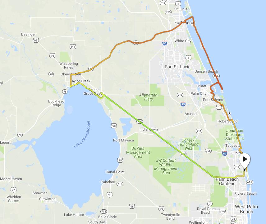 Okeechobee - Ft Pierce - 262 km (163 mi)